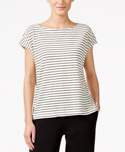 Eileen Fisher  - Striped Cotton Boat-Neck Top