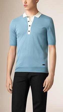 Burberry - Contrast Collar Silk Polo Shirt
