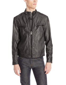 Kenneth Cole Reaction - Faux-Leather Moto Jacket
