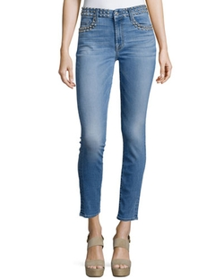 7 For All Mankind	  - Studded Skinny Ankle Jeans