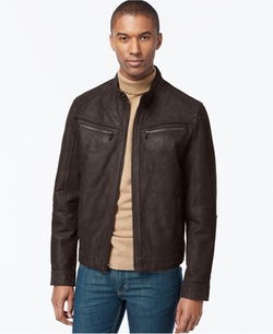 Michael Kors - Washed Nubuck Leather Moto Jacket