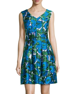 Donna Ricco  - Floral V-Neck Fit-and-Flare Dress