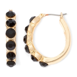 Monet - Black Hoop Earrings