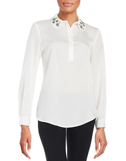 Ivanka Trump  - Jeweled Collar Blouse