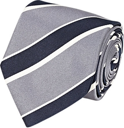 Bigi  - Diagonal-Striped Satin Necktie
