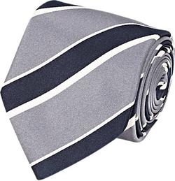 Bigi  - Diagonal-Striped Satin Necktie