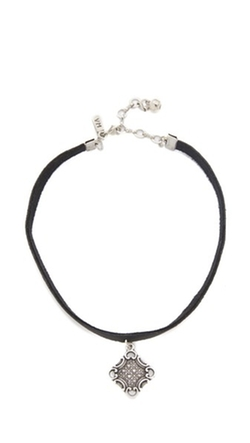Vanessa Mooney - Leather Choker Oxidized Charm Necklace