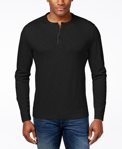 Alfani - Slub Long-Sleeve Henley Shirt