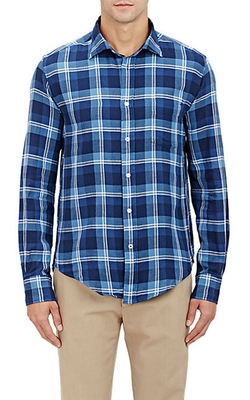 Hartford - Windowpane-Plaid Flannel Shirt