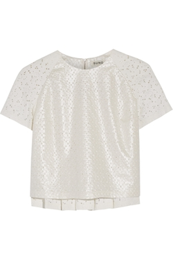 Suno - Coated Cotton-Eyelet & Lace Top