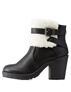 Charlotte Russe - Shearling Trim Belted Chunky Heel Booties