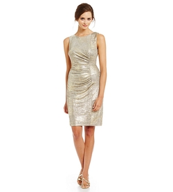 Calvin Klein - Metallic Side Ruched Sheath Dress Item #04495945