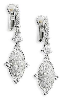 Judith Ripka - Arielle White Sapphire & Sterling Silver Oval Drop Earrings