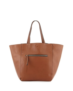 Neiman Marcus - Hip Zip Faux-Leather Tote Bag