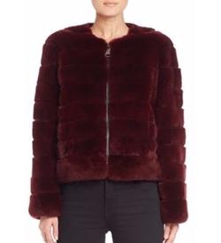 The Fur Salon  - Collarless Rex Rabbit Fur Jacket