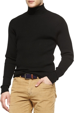 Peter Millar - Textured Wool Turtleneck Sweater, Black