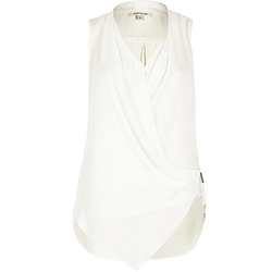 River Island - Cream Asymmetric Blouse