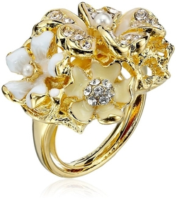 Kenneth Jay Lane - Multi-White Flower Adjustable Ring