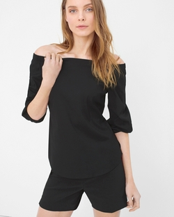 White House Black Market - Off-The-Shoulder Poplin Blouse