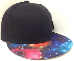 KB Ethos - Black Blank Galaxy Print Snapback Hat