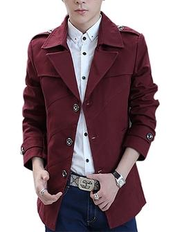 QZUnique - Turn Down Collar Jacket Light Trench Coat