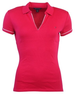 Tommy Hilfiger  - Womens Buttonless Logo Polo Shirt