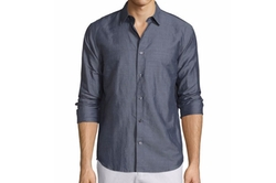 Vince  - Linen-Blend Long-Sleeve Sport Shirt