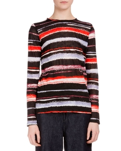 Proenza Schouler  - Long-Sleeve Cactus-Striped T-Shirt
