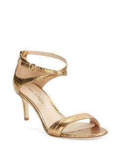 Via Spiga  - Leesa Textured Metallic Leather Sandals