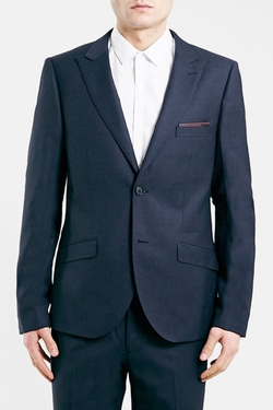 Topman - Navy Skinny Fit Suit Jacket