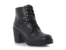 Plazza - Lace Up Cleated Sole Heeled Leather Ankle Boot