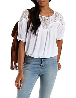 Charlotte Russe - Refuge Collection Bloused Lace Yoke Top