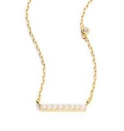 Tai - Faux Pearl Bar Pendant Necklace