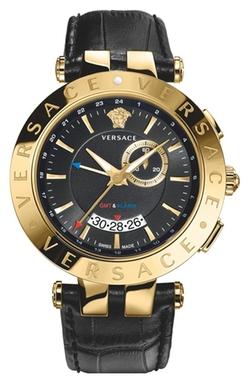 Versace - V-Race GMT Leather Strap Watch