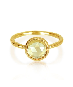 Bling Jewelry - Silver Citrine November Birthstone Round Hammered Ring