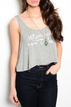 Love Tree Happens - Grey Cropped Tank Top