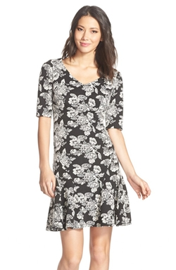 Gabby Skye  - Floral Pattern Knit A-Line Dress
