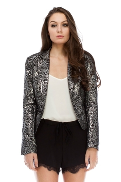 Sans Souci - Metallic Brocade One Button Blazer