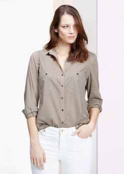 Mango - Ribbed Contrat Blouse