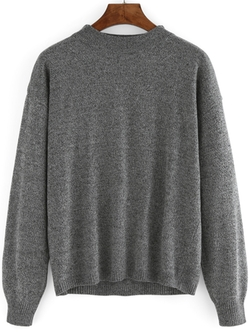 Romwe - Round Neck Loose Sweater