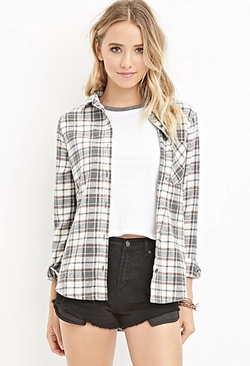 Forever21 - Cotton-Blend Plaid Shirt
