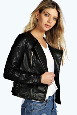 Claire - Collarless Biker Jacket