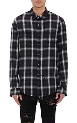 Amiri - Distressed Shotgun Plaid Shirt