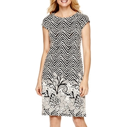 R&K Originals - Cap-Sleeve Textured Shift Dress