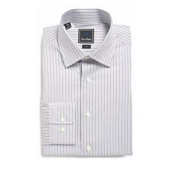 David Donahue - Trim Fit Stripe Dress Shirt