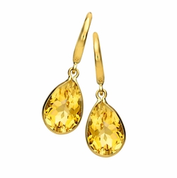 Kiki McDonough - Gold Citrine Pear-Drop Earrings