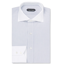 Tom Ford - Contrast-Collar Checked Cotton Shirt