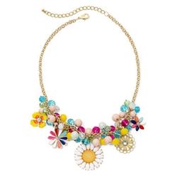 Mixit - Multicolor Stone Floral Statement Necklace