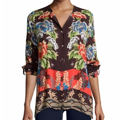 Johnny Was Collection - Lotte Long-Sleeve Printed Challis Blouse