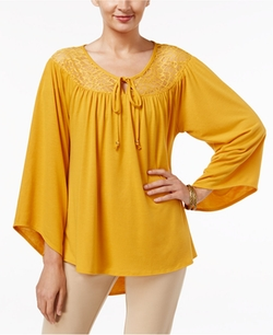 NY Collection  - Lace-Yoke Peasant Top